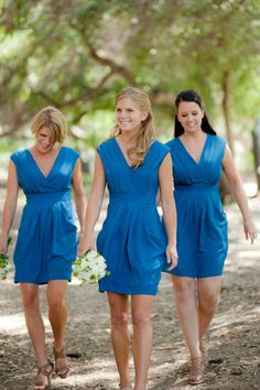 e22163d8954 Backyard Pasadena Wedding from The Youngrens. Blue Bridesmaid DressesWedding  ...