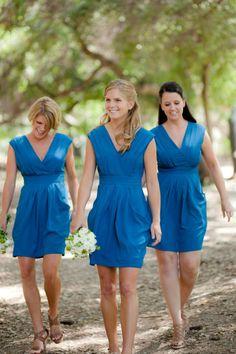 pretty blue bridesmaids