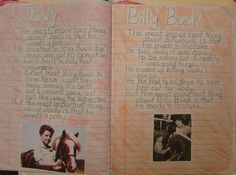 "We wrote ""Important Book""-inspired passages based on the two Steinbeck novellas we were reading in seventh grade.  You can do this in your writer's notebook with any characters you're studying from any book.  Here's my online lesson: http://corbettharrison.com/free_lessons/Important-Book.htm#2  This notebook is from Emily, 7th grade."