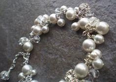 Pearl bridal bracelet charm cluster wedding by AuroraBridal, $85.00