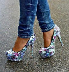 Colorful floral high heel ladies shoes. . click on pic to see more