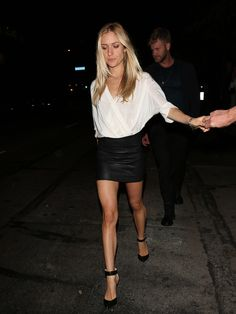 Nicole Richie - Black Top & White Tulip Skirt | Celeb Outfits ...