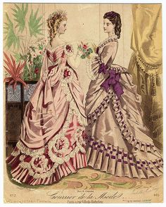 Courrier de la Mode. Victorian fashion plate with evening dresses