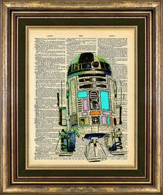 Star Wars R2D2 Pastel Vintage Dictionary Page Print Up Cycled on Etsy, $9.00