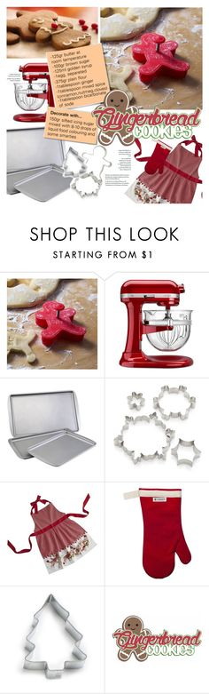 """""""Christmas Baking: Gingerbread Cookies"""" by federica-m ❤ liked on Polyvore featuring interior, interiors, interior design, home, home decor, interior decorating, KitchenAid, Farberware, Crate and Barrel and Ann Clark"""