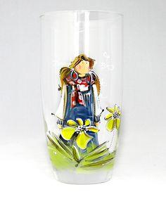 Verre à eau (510 ml) : : Jasmine   *** Produit peint à la main. Pint Glass, Glass Art, Projects To Try, Wine, Jasmine, Tableware, Art Ideas, Porcelain Ceramics, Paint Party