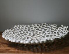 Witte fruitschaal met middelpunt, minimale biologische home decor, hedendaagse keramiek, aangepaste volgorde