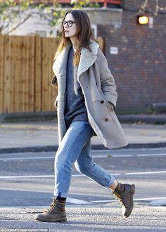 Keira Knightly- fall street style - Burberry Prorsum coat
