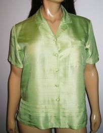 Pale Green Short Sleeve Silk Blouse NWOT - Size XL