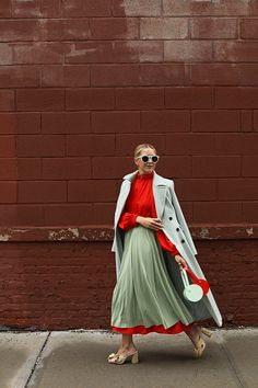 Mint and Red Color Combination for Fall | How to Style a Skirt Over a Dress | Mint Coat for Fall