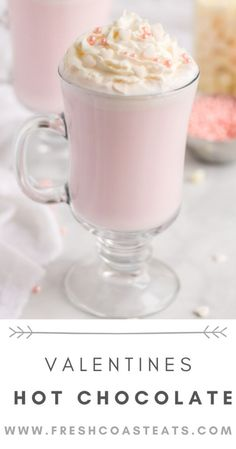 Pinterest image for Valentines Hot Chocolate. Pink Hot chocolate is in a tall clear glass mug. Sugar Cookie Cups, Lemon Sugar Cookies, Low Carb Chocolate, Hot Chocolate, Chocolate Gifts, Chocolate Recipes, Valentine Desserts, Valentines, Holiday Desserts