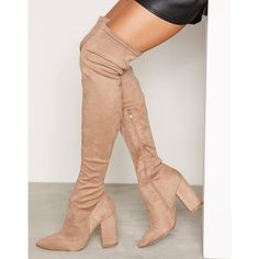 Nly Shoes Pointy Toe Thigh Boot ($34) ❤ liked on Polyvore featuring shoes, boots, pointy-toe boots, stretch boots, over knee boots, thigh boots and high heel boots