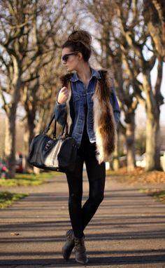 Anouska - colete de pêlo com camisa jeans