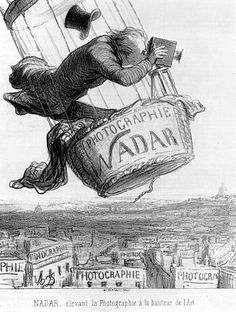 """The caption beneath this 1862 lithograph by French caricature artist Honoré Daumier reads """"Nadar elevating Photography to the height of Art."""" The print comically typecasts Gaspard-Félix Tournachon … History Of Photography, Aerial Photography, Air Balloon, Balloons, Ap Art History 250, Honore Daumier, Photo Print, Oeuvre D'art, In The Heights"""