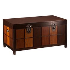 Callahan Trunk Cocktail Table ($379) ❤ liked on Polyvore featuring home, furniture, tables, accent tables, wood trunk table, wooden game table, storage table, dark wood coffee table and storage trunk table