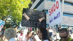 """BISCUITS NOT BULLETS!"" sign at the Justice for Geist Rally #1.  Please visit us at http://www.facebook.com/JusticeForGeist, Instagram @JusticeForGeistUtah and on Twitter @JusticeforGeist.Tag everything #justiceforgeist"
