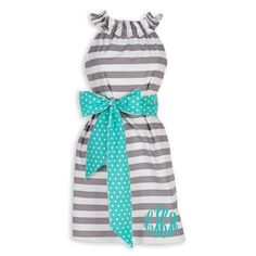 Swoon! Love this Ladies Gray Stripe Turquoise Dot Ruffle Neck Dress I discovered at lollywollydoodle.com and for only $43! Click the image above to get a $5 off coupon code for your next order!