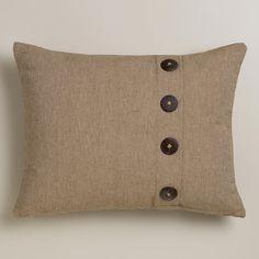 Natural Ribbed Lumbar Pillow with Buttons   World Market