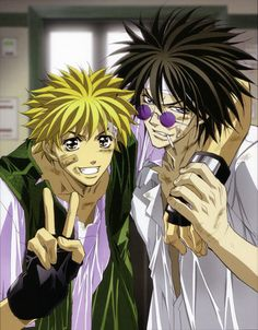 Ban Midou and Ginji Amano from Get Backers. Love this picture of them, mainly because........ I love pictures of guys all beat up lol!