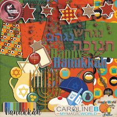 #CarolineB-Design    Hanukkah  Special HANUKKAH theme kit, including 5 papers and 21 elements (Hanukke, Flairs, kippa, label, oil jar, pennant with David Star, knot, sevivom, dreidel, gold coins, soufganiyi, bimuelo, 5 words art in English and Hebrew, star…)  http://www.carolineb-design.com/product/hanukkah/