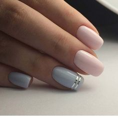 Simple, Light Pink and Blue Nail Art Design #weddingnaildesigns