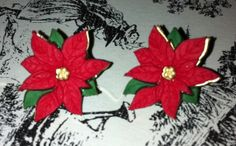Poinsetta Christmas Earrings Nickel by UniqueCreationsByMe on Etsy, $5.00