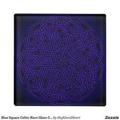 Blue Square Celtic Knot Glass Coasters Glass Coaster