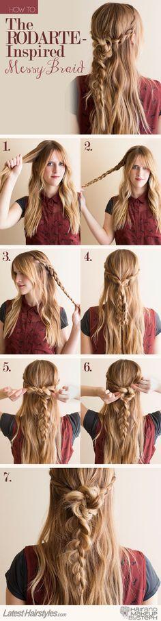 Tutorial para peinado de media cola con trenza y twist, vía Latest-Hairstyles.com