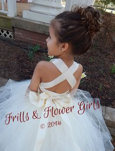 Ivory Lace Halter over Peach Tulle with by FrillsandFlowerGirl