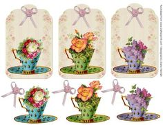 Vintage Floral Teacup Tags  on Craftsuprint designed by Diane Hannah - Lovely teacup tags with a rose ribbon and decoupage elements. - Now available for download!