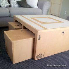 Nouveau patron de meuble en carton, pour réaliser la table basse Hoxane. Avec tabourets encastrés.