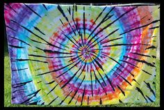Rainbow hippie tie dye tablecloth by DyingDazeTieDye on Etsy