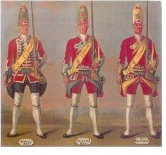 One of David Morier's paintings of British Army uniforms, commissioned by the Duke of Cumberland around This one shows Grenadiers from (Royal), (Queen's) and Regiments of Foot. British Army Uniform, British Uniforms, British Soldier, Men In Uniform, Independence War, Seven Years' War, 18th Century Clothing, Early American, Military History