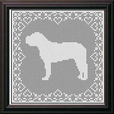 crochet puppy doily | Crochet Patterns - Dogs - MASTIFF DOG FILET CROCHET PATTERN Doily ...