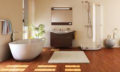 Pros and Cons of Bamboo Flooring in a Bathroom - Carpet to Go Bathroom Carpet, Bathroom Flooring, Vinyl Sheet Flooring, Porcelain Wood Tile, Bathroom Installation, Master Bath Remodel, Vinyl Sheets, Bathroom Renovations, Design
