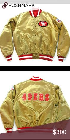 🔴🔶80s San Francisco 49ers Satin Gold  jacket🔶🔴 Rare and highly collectible 80s Official NFL PRO LINE STARTER sports bomber jacket in gold satin.  Red quilted satin lining, hip pockets, and gold metal popper fastenings. In new condition featuring small tear on the lower right side. NFL PRO LINE STARTER Jackets & Coats Bomber & Varsity