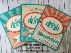 Creative Card Fold : Dutch Door Fold- using the Carousel Birthday set Unique Cards, Creative Cards, Cool Cards, Stampin Up Carousel Birthday, Carnival Card, Stampin Up Catalog, Pretty Cards, Kids Cards, Flower Cards