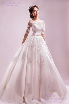 Half sleeves ball gown bridal gown