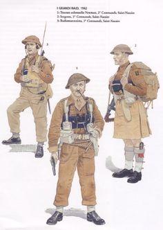 British Commandos - Saint Nazaire Raid, 1942 - 1. Lieutenant Colonel Newman, 2 Commando - 2. Sergeant, 5 Commando - 3. Radio operator, 3 Commando