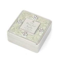 Decorative Wedding Flower Girl Square Diamante Trinket Box