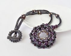 Natural Amethyst Beadwork Necklace Purple Black Beaded door DiaBeads
