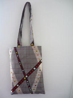 silver geometric silk tote bag A4 work bag, canvas tote, silver gray tote, silk kimono Japanese fabric