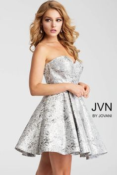 5c763cd9 Silver Strapless Sweetheart Neckline Short Dress JVN53203 at One Enchanted  Evening Box Pleated Dress, Strapless