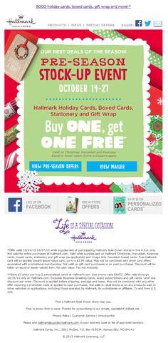 Hallmark pre-season holiday email Oct 2013