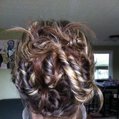 Easy way to curl hair when wet. Twist, pin it up and leave in overnight. ;)
