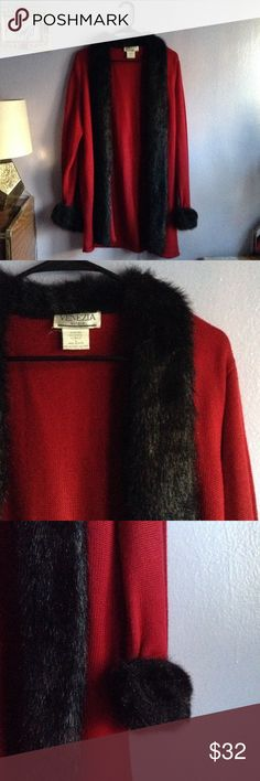Knit cardigan with faux fur Red Knit Cardigan with faux fur. 100% acaylic. Great for layering. Staple piece. Size L. Venezia Sweaters Cardigans