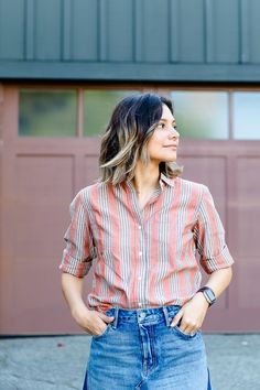 Looking for ways to style a button up shirt for work or for summer? In this post, I share two summer outfit ideas using a button up, striped shirt. These summer outfits are casual and comfortable. Classy Work Outfits, Mom Outfits, Night Outfits, Spring Outfits, Casual Outfits, Work Looks, Casual Chic Style, Mom Style, Trendy Fashion