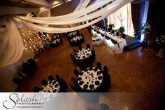 Splash Photography - Carmen's Banquet Centre - Black White Red Wedding - Ceiling Swag Decor