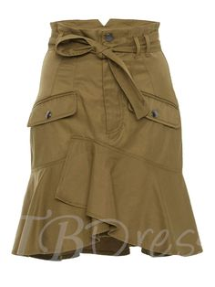 This **Marissa Webb** Rocco Ruffle Skirt features a high waist with tonal belt, front flap pockets, and a crossover ruffle hem. Skirt Outfits, Casual Outfits, Fashion Outfits, Cheap Skirts, Ruffle Skirt, Frilly Skirt, Denim Outfit, Ladies Dress Design, High Waisted Skirt