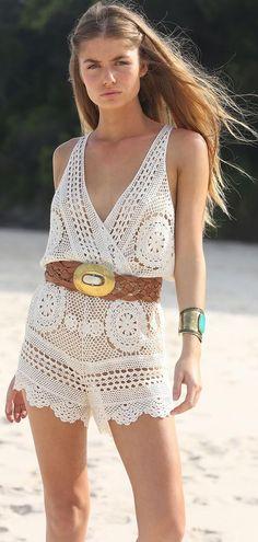 Fabulous Crochet a Little Black Crochet Dress Ideas. Georgeous Crochet a Little Black Crochet Dress Ideas. Crochet Romper, Crochet Pants, Black Crochet Dress, Crochet Clothes, Crochet Bikini, Knit Crochet, Crochet Fringe, Moda Boho, Bohemian Mode